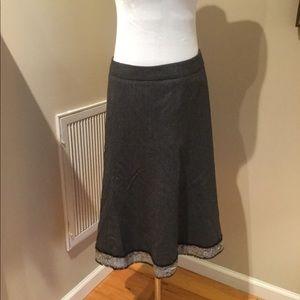 J Crew Heathered Grey Lined Skirt w/ sequin trim